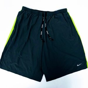 Nike Dri Fit Running Shorts Gray and Neon Green